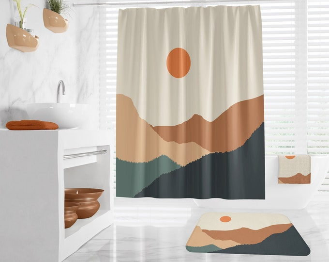 Abstract Landscape Bath Rug, Neutral Warm Earth Colors, Peaceful Mountain Scenery Shower Curtain, and Towels extra long bathroom curtain
