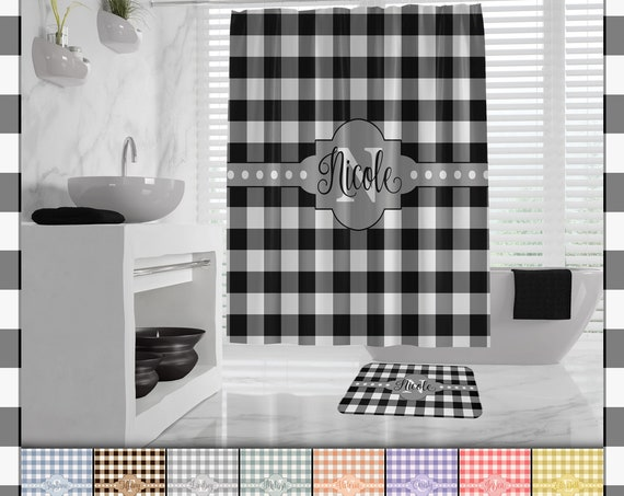 Buffalo Plaid Shower Curtain, Farmhouse Plaid Buffalo Check Bath Mat, monogram lumberjack shower curtain, Farmhouse Bath Decor, many colors