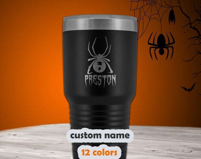 Halloween Personalized Tumbler - 30oz Stainless Steel Spider Travel Mug - customized with name - Black Widow Mug - Laser engraved tumbler