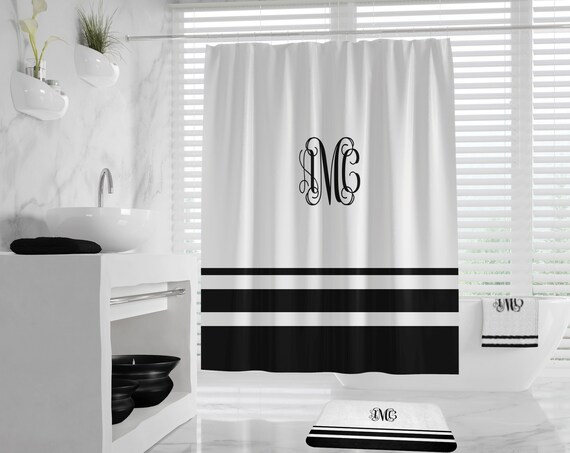 Monogram Shower Curtain, Custom Colors Stripes Shower Curtain, Monogram Bath Mat, elegant monogram towel, shower curtain set,striped bathmat