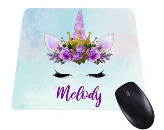 Personalized Unicorn Mouse Pad, Custom name mousepad, Purple Desk Accessories, Personalized Gift, Office Decor, watercolor Desk Decor