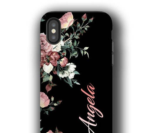 iPhone XI Case, Vintage Roses, Samsung Galaxy S20 Ultra, iPhone 8 Plus Case,  Case, Galaxy S7 Edge Case, Monogram, Personalized, Galaxy S8