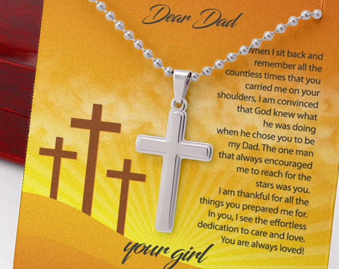 Open Letter to Dad Stainless Steel Cross Necklace for Dad, custom engraved Father's Day gift from daughter high polished cross on ball chain