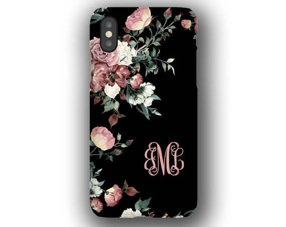 Vintage shabby chic roses monogrammed iPhone XS Case, iPhone 11 Pro Max, iPhone XR, iPhone 8, iPhone 8 Plus, Galaxy S10, Galaxy S20 Ultra