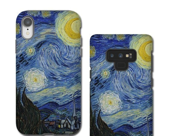van Gogh Starry Night iphone XS MAX case crescent moon iphone 11 Pro Max Samsung Galaxy Note 10 Plus iPhone XR iPhone 8 Samsung Galaxy S8
