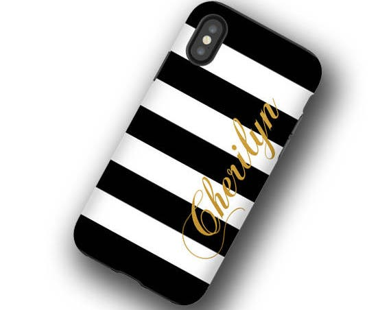 iPhone 11 Black and White stripes with golden name iPhone XS case iPhone 8 personalized Galaxy Note 9  iPhone XR iPhone7 Galaxy Note 10 Plus