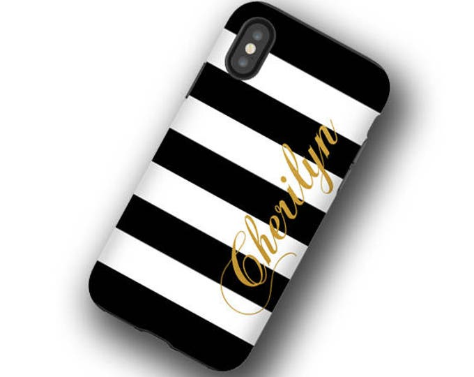 Black and White stripes with golden name iPhone 12 mini case iPhone 8 personalized Galaxy S21 Ultra  iPhone XR iPhone 11 Galaxy Note 10 Plus
