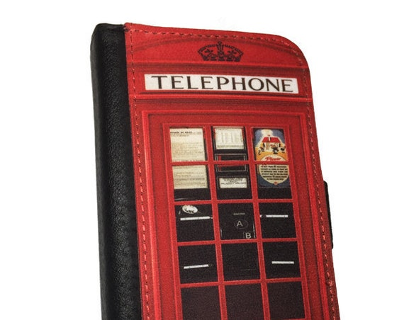 Funny red british phone booth London style retro iPhone 4s Samsung Galaxy Note 3 Note 4 iPhone 6 wallet case iPhone 6s Samsung Galaxy S6