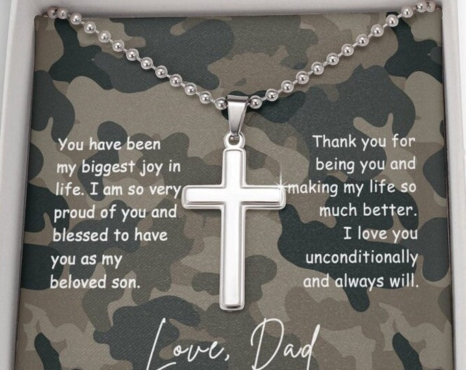 Engraved Cross Necklace for Military Son from Dad, Christian Cross Gift For Son with camouflage sentimental card and gift box Custom S-13-D