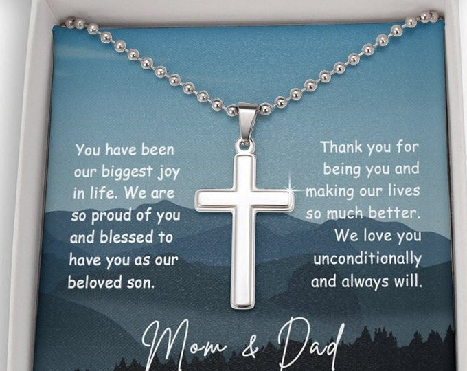 Engraved Cross Birthday Gift for Son, Cross For Son, Custom Birthday Gifts for Son, Gifts From Mom and Dad Personalized Engraving S-12