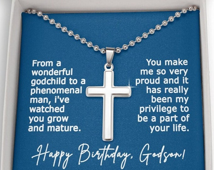 Engraved Cross Godson Necklace, Birthday Gift for Godson From Godmother, Personalized Engraved Christian Necklace Gift from Godfather GS13