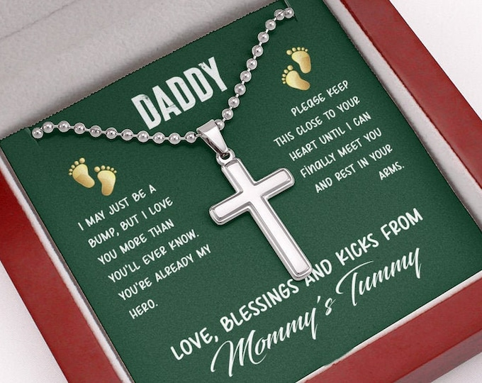Daddy, I may just be a bump Stainless Steel Cross Necklace for Dads, custom engraved Father's Day gift from wife, gift for soon to be Dad