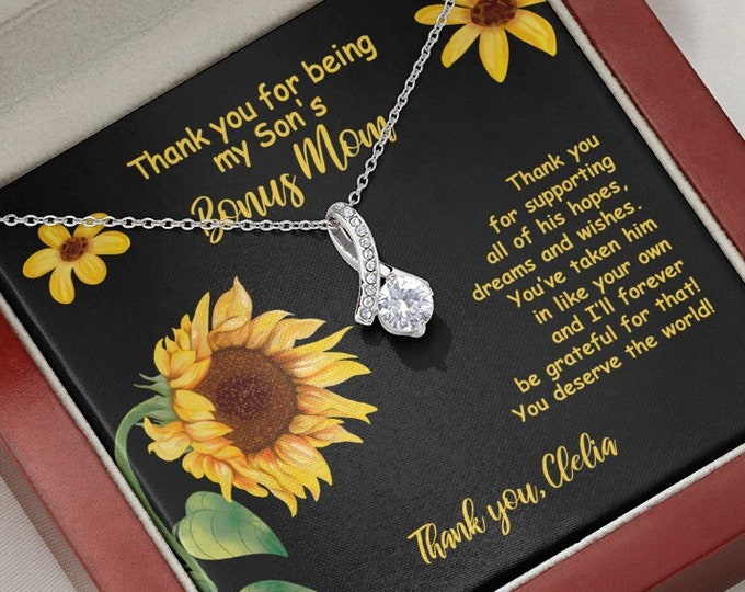 Biological Mom to Bonus Mom Necklace, Thank you for being my Son's Bonus Mom Gift Sunflower gift from biological Mom to unbiological Mother