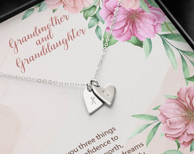 Initials Hearts hand stamped Grandmother & Granddaughter Necklace Birthday Gift Granddaughter from Grandma Granddaughter Easter Gift in Box