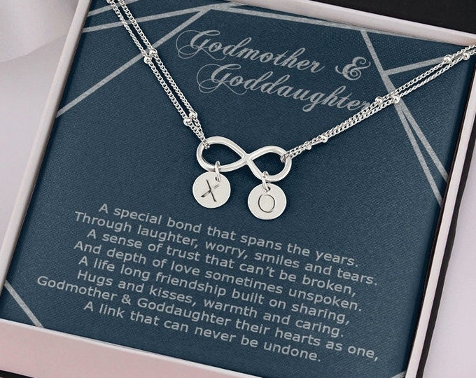 """Godmother Goddaughter matching Bracelet, Infinity sign with """"XO"""" Custom Hand Stamp Charms, Sterling Silver dipped in white or yellow gold"""