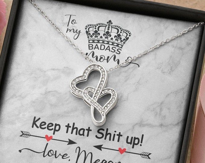 Badass Mom Gift - Keep that Shit up! Mother's Day Necklace with custom message Gift from son to mom personalized gift from daughter to mom