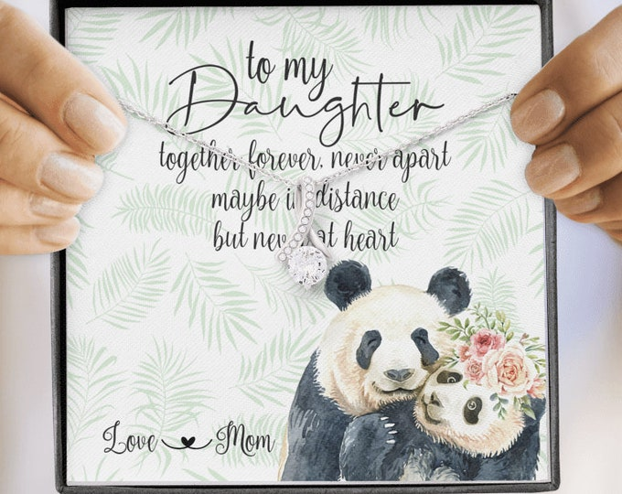 Together forever never apart Mom Daughter necklace, long distance gift from Mom - Panda Bear with Cub design gorgeous message card included