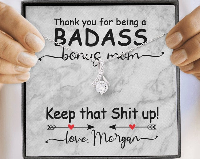 Badass Bonus Mom Mother's Day Necklace with custom message Gift for Stepmom from Step Son from Stepdaughter personalized gift for stepmother