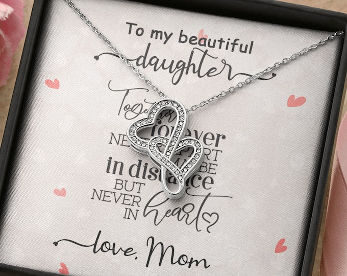 Together forever never apart Daughter Mom silver necklace, long distance gift from Mom, Birthday Gift from Dad custom message card included