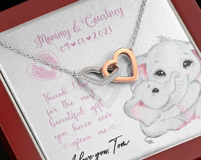 Cute Push Present Elephants, Mama Elephant and Baby Girl necklace, customized Gift from new Dad to new Mom new Baby gift for Wife from Daddy