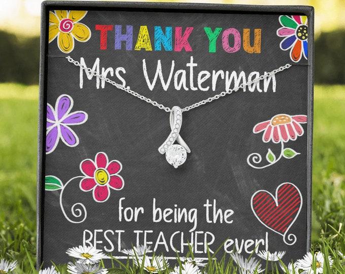 Personalized Teacher Necklace, Custom Gift for Teachers, A Truly Amazing Teacher Appreciation Gift, Chalkboard Thank You Teacher Gift Idea