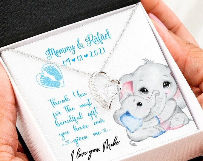 Push Present Elephants, cute Mama Elephant and Baby Boy necklace, custom Gift from new Dad to new Mom, new Baby gift from Husband to Wife