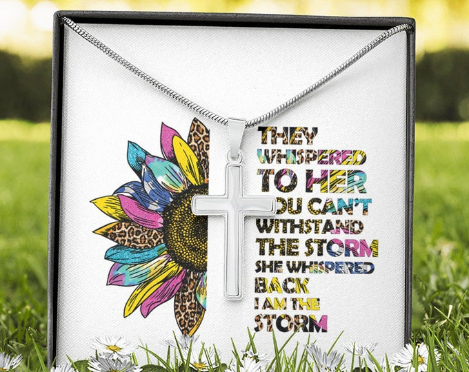 Custom engraved Cross Necklace - They whispered to her. I am the storm, Christian gift necklace for daughter, sunflower motivational quote