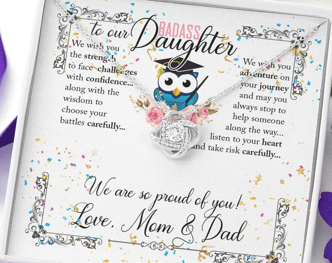 To our Badass Daughter Graduation Gift for Her-Cute Daughter Graduation necklace from Mom and Dad different pendants, card can be customized