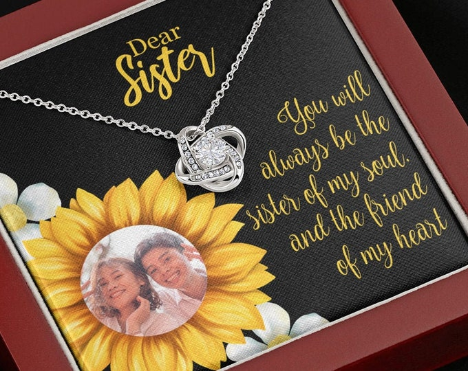 Custom Photo Sister Necklace, personalized Sunflower Card, Gift from Brother custom gift from Sister personalized sunflower sister necklace