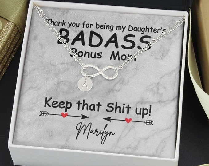 Badass Bonus Mom Personalized Gift, Unbiological Mom Bracelet Biological Mom to Bonus Mom, Foster Mom Gift Idea Gift for Daughter's Step Mom