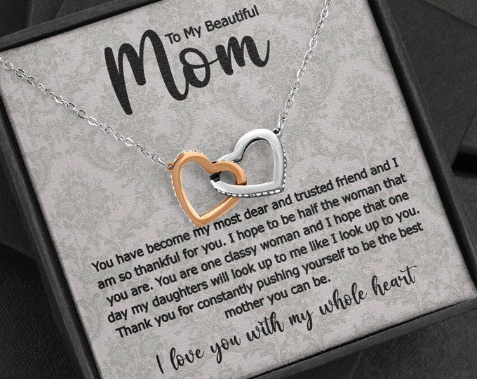 My Beautiful Mom Two Hearts Necklace Rose Gold / Silver Double Hearts Mother Gift, Meaningful  Gift For Mom From Daughter Thank You Mom Gift