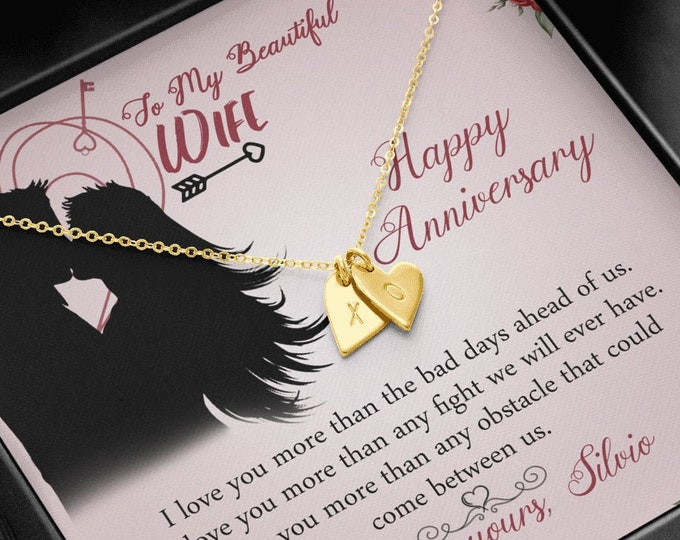 Hand stamped Initials Hearts Anniversary Necklace customized anniversary gift sterling silver gold finish heart necklace gift from husband
