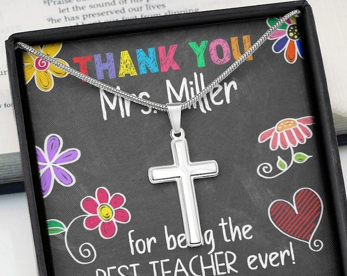 Customized Teacher Necklace Personalized Gift for Teachers Best Teacher Ever Appreciation Gift Polished Cross Necklace Teacher Gift Idea