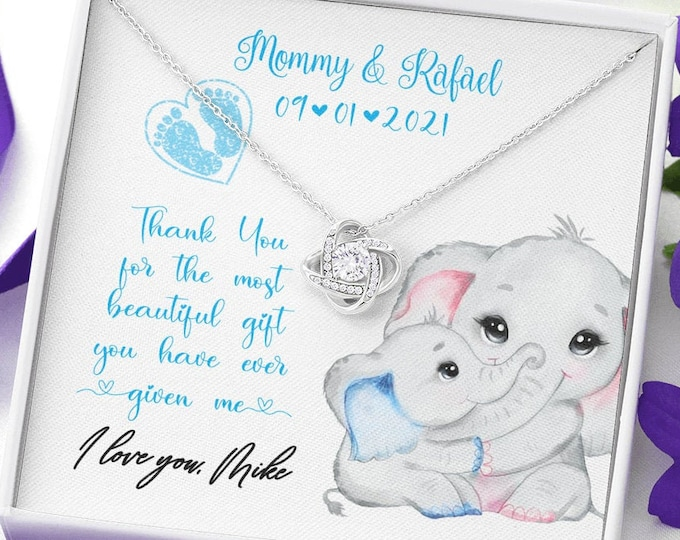 Cute Push Present Elephants, Mama Elephant and Baby Boy necklace, customized Gift from new Dad to new Mom new Baby gift for Wife from Daddy