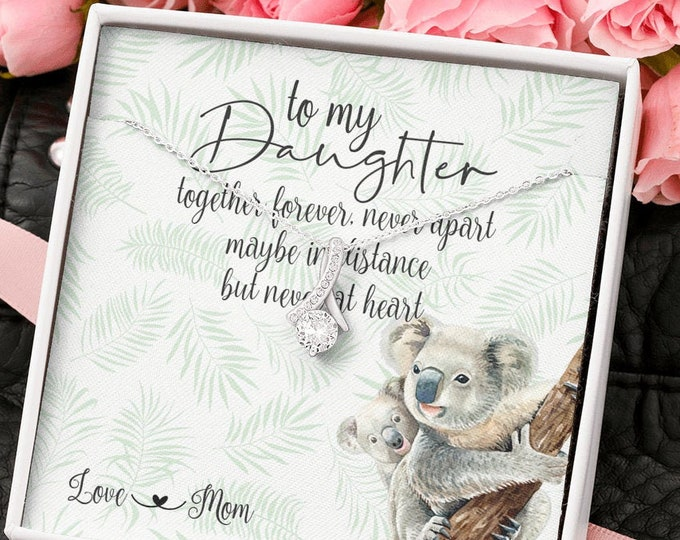 Together forever never apart Daughter Mom silver necklace, long distance gift from Mom cute Koala Bear and Joey design message card included