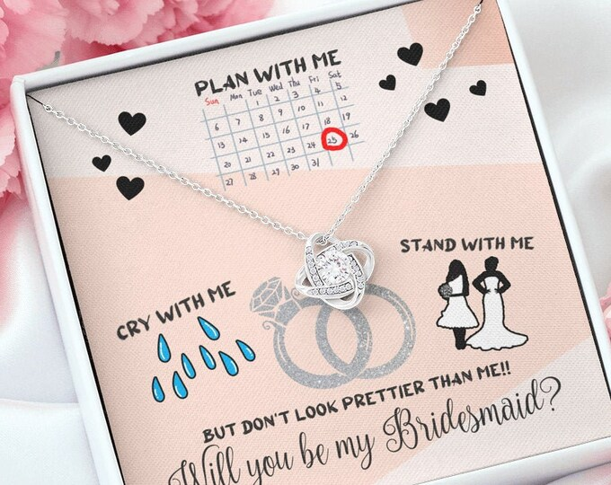 Bridesmaid Proposal Necklace - Will you plan with me, stand with me? Will You Be My Bridesmaid Proposal Gift Funny Bridesmaid Gift Necklace