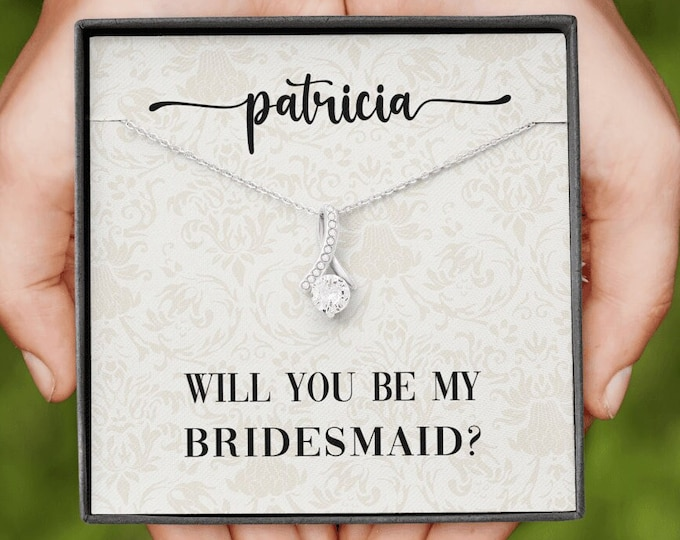 Personalized Bridesmaid Proposal Necklace, Maid of Honor Gift Will You Be My Bridesmaid, Matron of Honor Card, Flower Girl Proposal Necklace