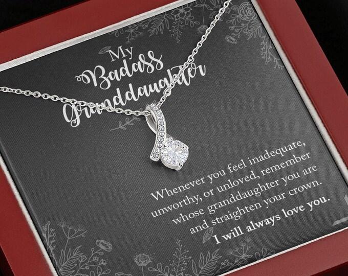 My Badass Granddaughter Ribbon Necklace - Meaningful gift for granddaughter - Birthday gift for Granddaughter sweet 16 necklace from Grandma