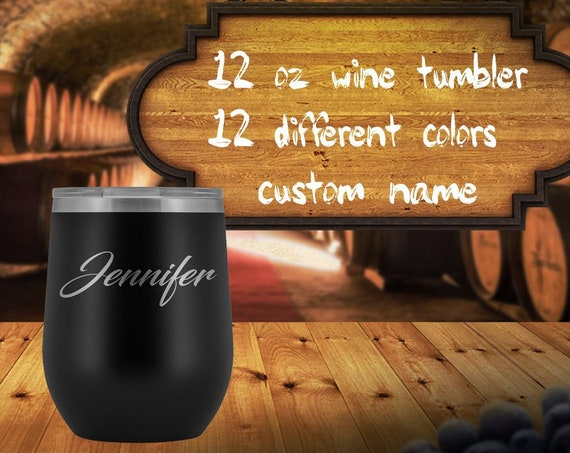 Stemless Wine Glass Custom Name , personalized wine tumbler, custom name wine glass, coworker gift, wine lover gift, gift for best friends