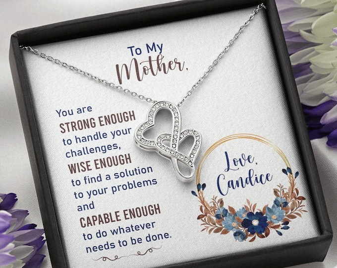 Mother double hearts Necklace - Personalized card with your name - Special Christmas Jewelry Gift from daughter, Gift from Son to Mom