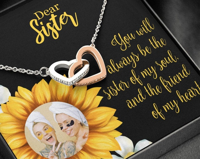 Custom photo Sister Necklace, Sunflower Designed Card, Gift from Brother, from Sister to Sister Birthday Gift, 2 connected hearts necklace