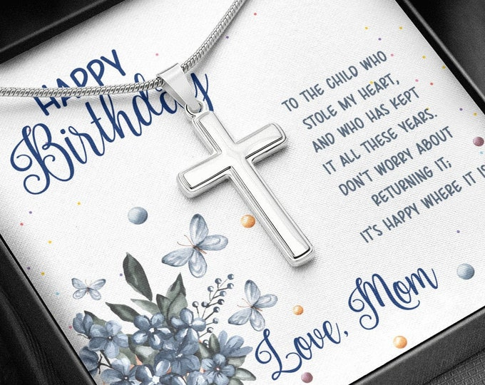 Personalized Daughter Birthday Cross Necklace - Religious Artisan Cross Necklace - engraving on the back, custom message card incl gift box