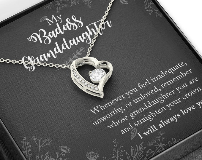 My Badass Granddaughter Heart Necklace - Sentimental gift for granddaughter - Remember whose granddaughter you are and straighten your crown