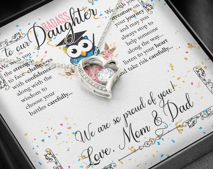 To our Badass Daughter Graduation Gift for Her Daughter Graduation necklace from Mom and Dad, white gold over stainless steel heart necklace