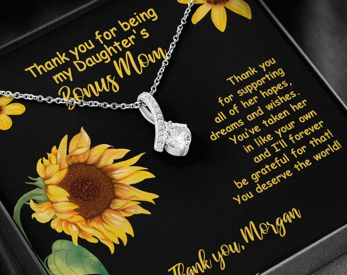 Biological Mom to Bonus Mom Gift, Thank you for being my Daughter's Bonus Mom Necklace Meaningful gift from Mother to Step Mother Foster Mom