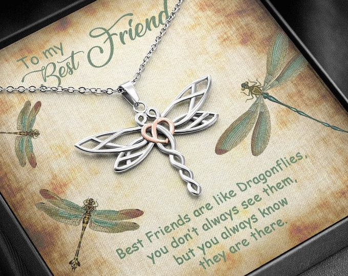 Elegant Dragonfly Necklace, Empowering Best Friends Gift, vintage style message card and free gift box included - You don't always see them