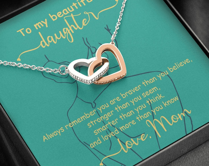To my beautiful Daughter Necklace, different necklaces to choose from, Gift from Mom, Birthday Gift from Dad custom message card included
