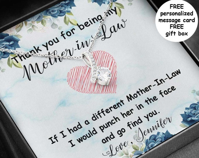 Sarcastic Mother-in-Law necklace with personalized message card, 14k white gold over stainless steel Funny Mother in Law gift free gift box