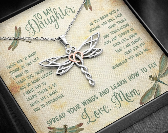 Elegant Dragonfly Necklace for Daughter from Mom or Dad, Spread Your Wings and Learn How To Fly vintage style message card and in gift box