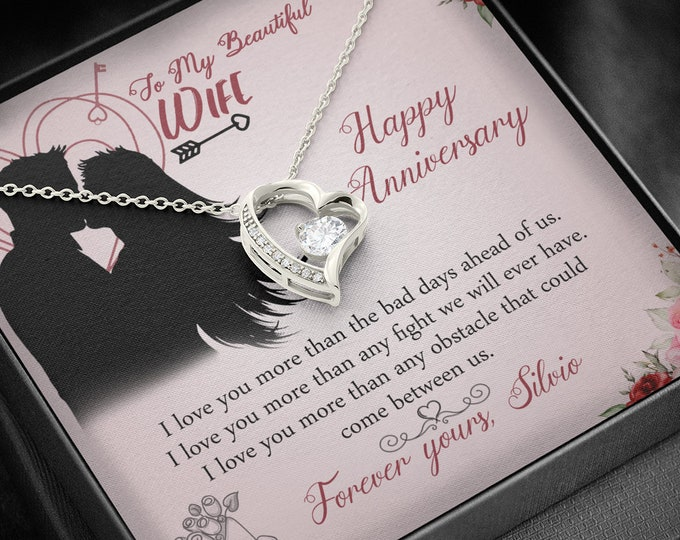 To my beautiful wife -Happy Anniversary Necklace customized anniversary gift 14K white gold finish heart necklace gift for wife from husband
